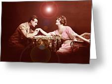 Man Kissing Womans Hand Romantic Couple Greeting Card