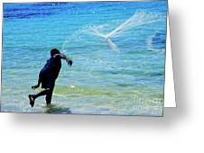 Man Launching His Fishing Net Into The Crystal Water Greeting Card