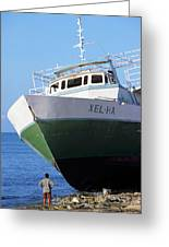 Man Looking Up At A Beached Passenger Ship On Cozumel Island Greeting Card