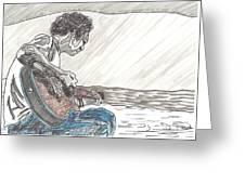 Man On Beach Greeting Card by David Fossaceca