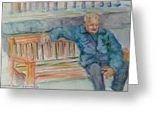 Man On Bench Greeting Card