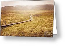Man On Expedition Along Cradle Mountain Boardwalk Greeting Card
