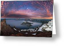 Man On Hilltop Viewing Crater Lake With Full Moon Greeting Card