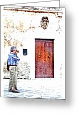 Man Photographing Greeting Card