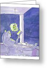 Man Reads By The Light Of Fireflies. Greeting Card
