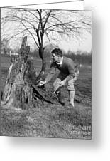 Man Retrieving Golf Ball From Tree Greeting Card