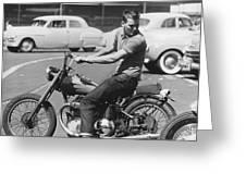 Man Riding A Motorcycle Greeting Card