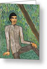 Man Sitting Under Willow Tree Greeting Card