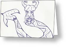Man Snake Greeting Card