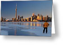 Man Standing On Frozen Lake Ontario Ice Looking At Toronto City  Greeting Card