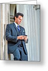 Man Texting Outside Greeting Card