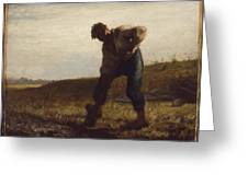 Man Turning Over The Soil Greeting Card