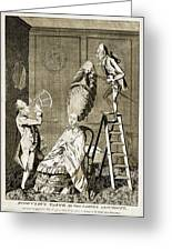 Man Using Sextant On Womans Coiffure Greeting Card