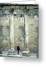Man Walking Between Columns At The Roman Theatre Greeting Card