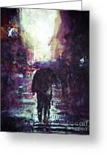 Man Walking Under Umbrella Greeting Card