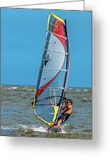 Man Wind Surfing Greeting Card