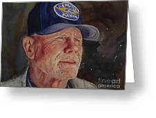 Man With Ford Cap Greeting Card