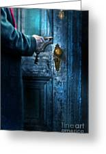 Man With Keys At Door Greeting Card