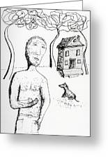 Man With Puppy  Greeting Card