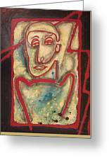 Man With Red Outline  Greeting Card