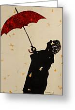 Man With Red Umbrella    Greeting Card