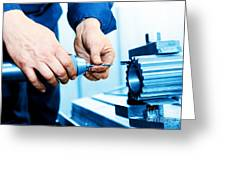 Man Working On Drilling And Boring Machine Greeting Card