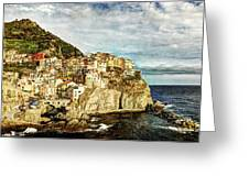 Manarola In The Sun - Vintage Version Greeting Card