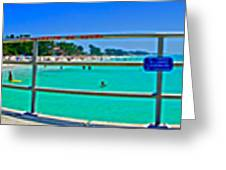 Manatee Beach Pier 360 Degrees Greeting Card