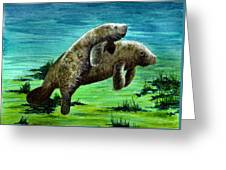 Manatee Mother And Young Greeting Card