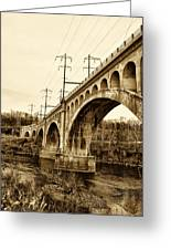 Manayunk Bridge Across The Schuylkill River In Sepia Greeting Card