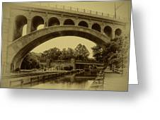Manayunk Canal In Sepia Greeting Card