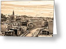 Manayunk In March - Canal View In Sepia Greeting Card