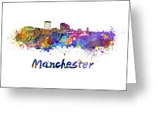 Manchester Nh Skyline In Watercolor Greeting Card