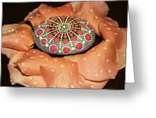 Mandala Stone In Rose Petals Greeting Card