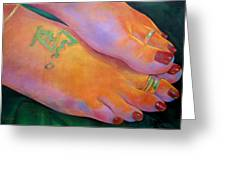 Mandy Toes Orange Greeting Card