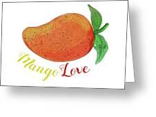 Mango Love Fruit Watercolor Mandala  Greeting Card