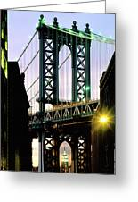 Manhattan Bridge And Empire State Building Greeting Card
