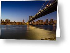 Manhattan Bridge At Night Greeting Card
