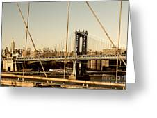 Manhattan Bridge From The Brooklyn Bridge  Greeting Card