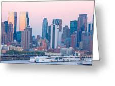 Manhattan Cruise Terminal And Skyline Greeting Card