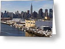 Manhattan From Greenpoint In Winter Greeting Card