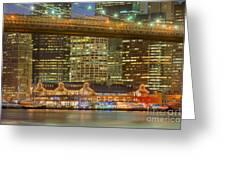 Manhattan Night Skyline I Greeting Card