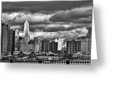 Manhattan Nyc Storm Clouds Cityview Greeting Card