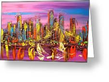 Manhattan Purple By Mark Kazav Greeting Card