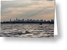 Manhattan Skyline From Channel Greeting Card