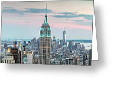 Manhattan Skyline Panoramic, New York City, Usa Greeting Card