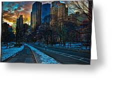 Manhattan Sunset Greeting Card by Chris Lord