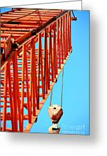 Manitowoc Red Boom Block And Hook Greeting Card