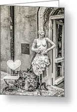 Mannequin On The Street Bw Greeting Card