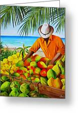 Manuel The Fruit Vendor At The Beach Greeting Card